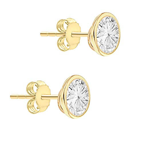 Carissima Gold Women's 9 ct Yellow Gold 6 mm Round Cubic Zirconia Polished Stud Earrings
