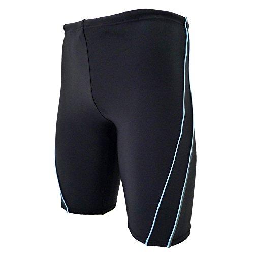 (ルモード)lemodeフィットネス水着 日本製 メンズ905 ボックス型 伸縮性が強い ポリウレタン18% (ブラック&ブルー, Mサイズ)