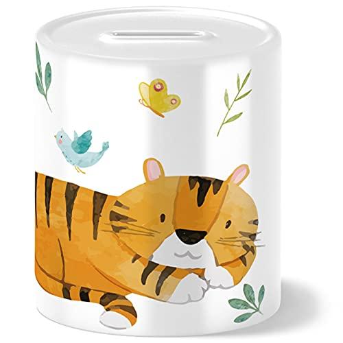 OWLBOOK Hucha para niños con diseño de tigre de safari, idea de regalo para niñas, cumpleaños, Navidad, graduación, bautizo, nacimiento, hucha