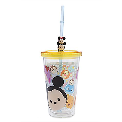 Disney Store Tsum Tsum Acrylic Tumbler Straw Cup Minnie Mickey Pooh Eeyore