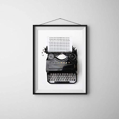 N / A Cine nórdico Estilo Retro en Blanco y Negro máquina de Escribir Lienzo impresión de Carteles e Impresiones Sala de Estar hogar Arte de la Pared decoración Sin Marco 40x60 cm