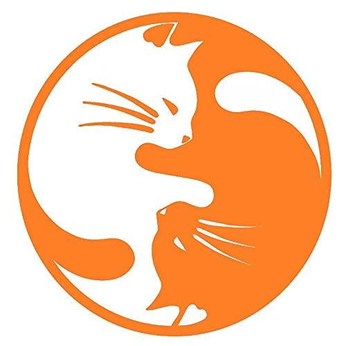 Pegatinas Divertidas Etiqueta engomada del Coche Gato Yin Yang Moda de Dibujos Animados decoración calcomanías Creativas PVC Ventana Tronco Pegatinas 15 x 15 cm (Color : 4, Size : 15 x 15 cm)