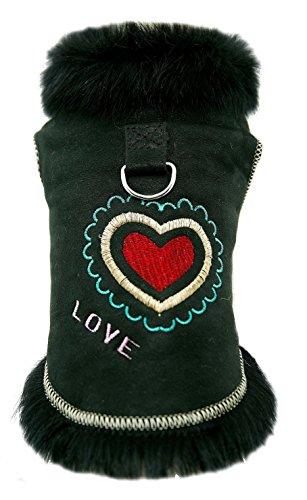 DX Winter Hundemantel, Hundejacke, Echt Lammfell, Schaffell, Fell, Pelz, Leder Bekleidung, Warm Outdoor, Hunde PPKD-0002 (M)