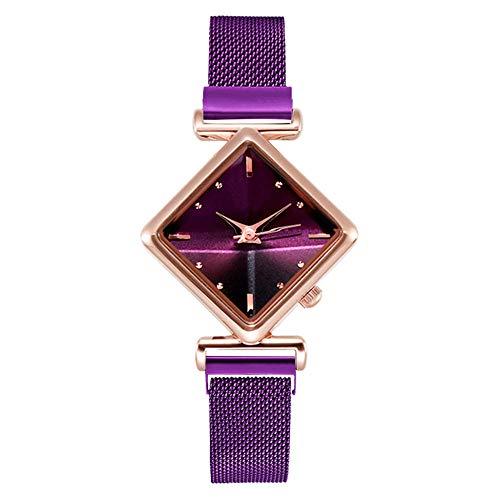 SANDA Relojes Mujer,Conjunto de combinación de Moda de Pulsera de Reloj de Diamante de Personalidad de Moda Simple para Mujer-púrpura