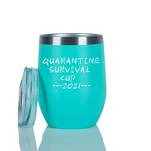 Quarantine Survival Cup 2021 Wine Tumbler, Funny Birthday Quarantine Tumbler for Friends Coworker Mom Wife Women, 12 Oz Insulated Stainless Steel Wine Tumbler with Lid and Straw, Mint