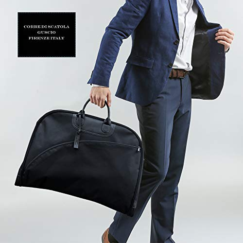 【グッシオウォーモ】ガーメントバッグハンガー付きスーツビジネス出張形崩れ防止イタリアンスタイルデザインキャリー通し冠婚葬祭メンズGUSCIO195007(ブラック)