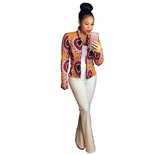 Photno Womens Blazer Jackets Classic Lapel Open Front African Print Dashiki Baseball Biker Bomber Short Cardigan Coat Yellow