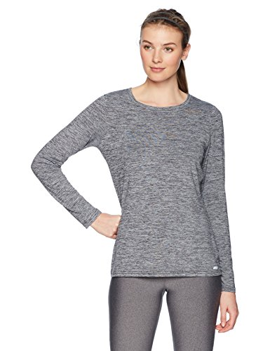 Amazon Essentials Women's Tech Stretch Long-Sleeve T-Shirt, Black Heather, Medium