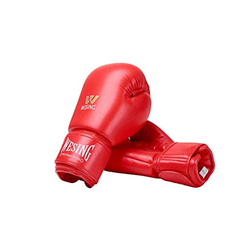 HUIJUNWENTI Boxing Gloves, Sanda Gloves, Martial Arts Fighting Training Gloves, Muay Thai Microfiber Boxing Set, The Best Gift for Boxing Enthusiasts (Color : Red, Size : 16oz)