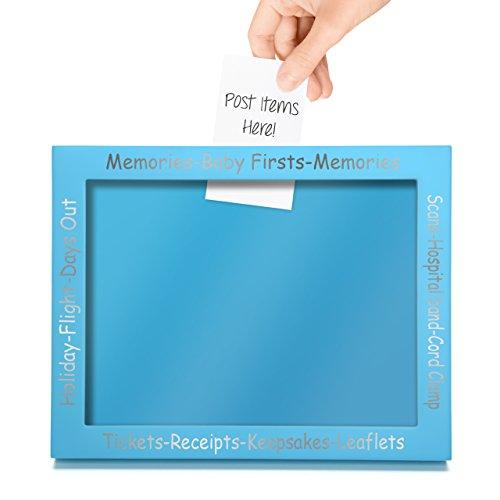 CKB LTD® Bleu Blue Display Frame for Baby First Memories Keepsakes -Cadre Photo Deco Bébés Premiers Souvenirs Cadre Souvenir Boîte d'affichage - Grossesse Parfaite ou Nouvelle Naissance - Cadeau
