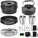 EElabper Utensilios De Cocina De Camping Kit Pan Pot Kettle Set Productos De Acero Inoxidable para Cocinar Al Aire Libre Y Picnic Negro