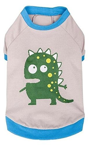 Blueberry Pet Alien the Dinosaur Cotton Dog Shirt in Grey, Back Length 14', Pack of 1 Clothes for Dogs