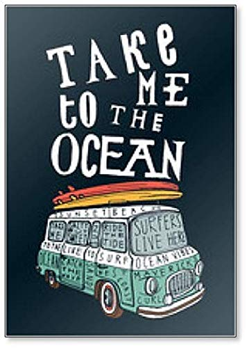 Take Me to the Ocean. Imán para nevera con diseño vintage de furgoneta azul con tablas de surf rosas y amarillas