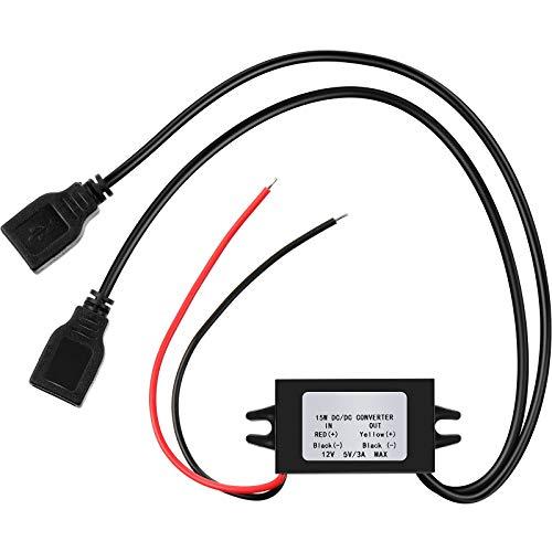 Convertisseur DC Régulateur de Tension 12V à 5V 3A 15W DC Module Convertisseur Buck, DC à DC Convertisseur Régulateur Convertisseur de Puissance de Voiture avec Double Sortie USB (1 Pièce)