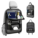 Tsumbay Car Backseat Organizer with Tablet Holder, 8 Storage Pockets PU Leather Seat Back Protectors Kick Mats for Kids Car Snack Organizer with Foldable Table Tray, Tissue Box Black 1 Pcs