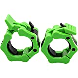 Olympic Barbell Clamps, Quick Release Non-Slip Barbell Collars Clips for 2-Inch Pro Olympic Weight Bar Plate, Lockdown Weight Clamps for Workout Weightlifting Fitness Training (A Pair/2PCS Green)