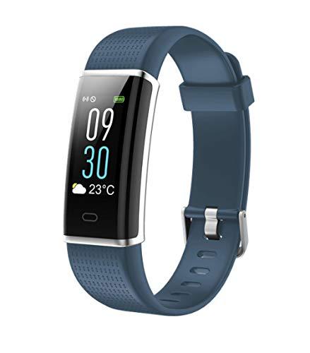 PLUIEX Reloj Inteligente Banda de Seguimiento de Fitness Inteligente LCD Compatible con Seguimiento Deportivo de frecuencia cardíaca Modo multideportivo Pulsera recordatorio de SMS, Azul Gris