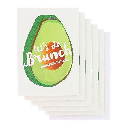 Gruß/Notizkärtchen mit Avocado Motiv und Hinweis auf Brunch - Packung mit 10 Stück