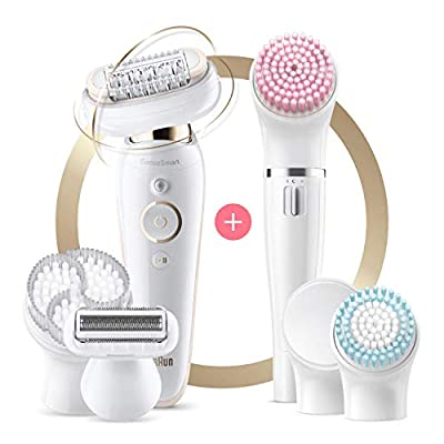 Braun Silk-épil 9 Flex 9-100 Beauty Set, Epilator with Flexible Head, Anti-Slip Grip and Pressure Control for Effortless Hair Removal, FaceSpa with Exfoliation Brushes and Make-up Sponge from Procter & Gamble