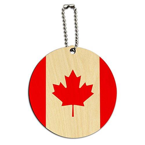Graphics & More Kanadische Nationalflagge, rund, Holz, für Gepäck, Koffer, Handgepäck, Mehrfarbig (Mehrfarbig) - IDTAG.Wood.Round.20087