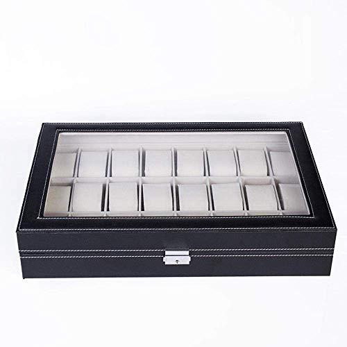 SCDHZP 24 Fentes Montre Collection boîte en Cuir vitrine Organisateur Top Stockage de Bijoux en Verre
