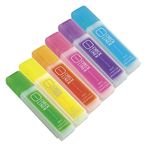 CHECK LINER チェックライナー 蛍光マーカー-6色セット (ブルー/パープル/ピンク/オレンジ/イエロー/グリーン) 文具 オフィス 学校 イラストに!