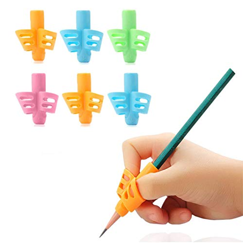 Pencil Grips - 6 Pack Pencil Grips for Kids Handwriting, Ergonomic Writing Training Aid Correction Silicon Gel Pencil Grip for Children Preschoolers