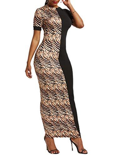 FOBEXISS Vestido largo de manga corta para mujer, estampado de leopardo, vestido elegante