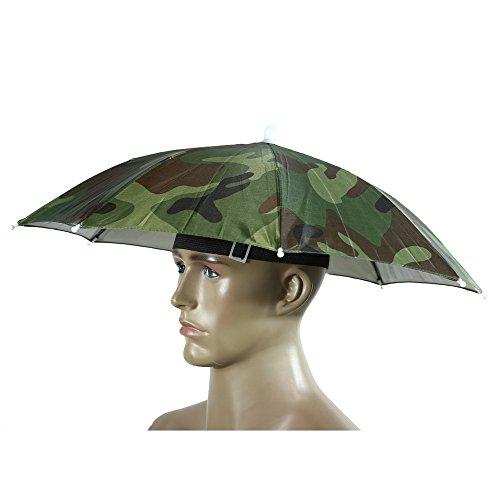Portable Umbrella Hat Sun Shade Camping Fishing Hiking Golf Beach Headwear Outdoor Brolly for Men Handsfree Umbrella Tackle - Camo