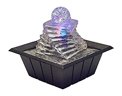 """OK Lighting 8"""" H Table Fountain with Light"""