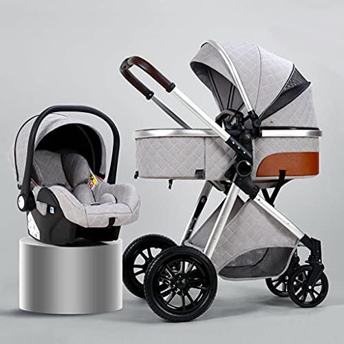 Sillas De Paseo De Bebé Cochecito 3 en 1, Cochecito de bebé plegable, Cochecito infantil reversible, resistente a los golpes para recién nacidos y niños pequeños, con ruedas de goma ( Color : Grey )