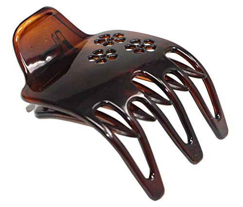 Parcelona France Paw Tortoise Shell Wide 2 1/4 inch Celluloid Side Slide In Yoga Hair Claw Clamp for Fine Hair