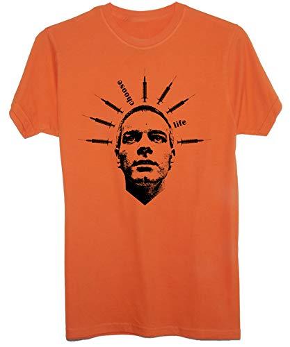New Indastria T-Shirt Trainspotting Mark Renton Fan Art -Cult Movie - Uomo-L - Arancione
