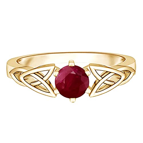 Celtic Knot Ring! 5 MM Round Ruby Gemstone 925 Sterling Silver Solitaire Ring (yellow gold plated silver, 5)
