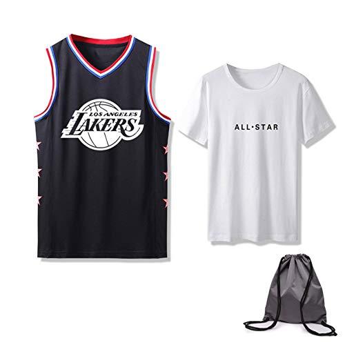 Los Angeles Lakers Jersey 2 Set – All Star Sports Fan Jerseys Top + Camiseta, transpiración transpirable de secado rápido, camisetas de baloncesto para hombre con bolsa