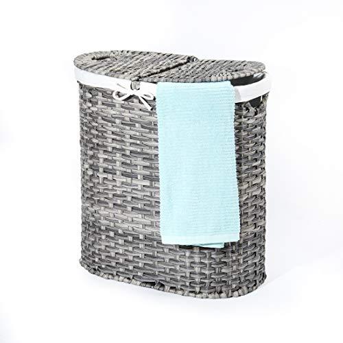 Seville Classics Handwoven Oval Double Lidded Removable Canvas Liner Laundry Sorter Hamper Bin, Gray