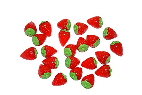 AMOBESTER Sime Charms Strawberry 30Psc Decorative Slime Beads for Arts Crafts Ornament