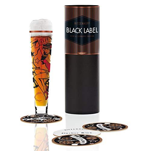 RITZENHOFF Black Label Bierglas van Markus Binz, van kristalglas, 300 ml, met vijf bierdeksels