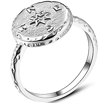 Jude Jewelers Stainless Steel Retro Vintage Compass Style Statement Promsie Biker Party Ring  Silver 7