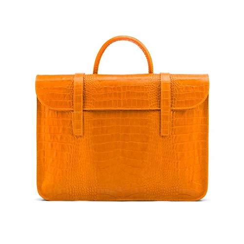 SageBrown Yellow Croc Luxury Leather Music Bag
