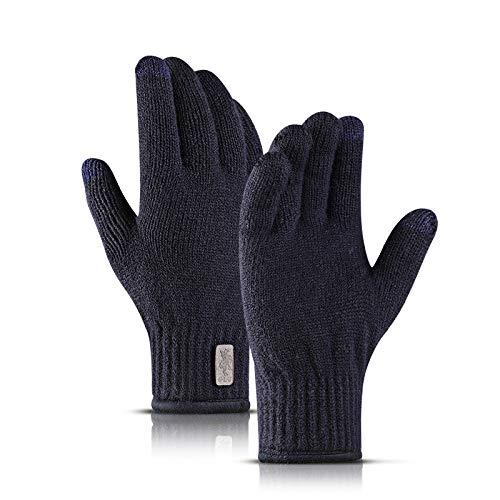 Gestrickte Handschuhe,Männer Stricken Handschuhe Herbst Winter Komfortabel Hohe Elastische Touchscreen Im Freien Warm Reiten Student Marine Blau Handschuhe