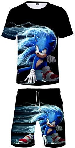 Silver Basic Niños Ropa Deportiva Chándal Sonic Camiseta y Pantalones Conjunto de Pijama de Verano Videojuego Sonic The Hedgehog Disfraz de Cosplay 130, 752Erizo Hedgehog-5