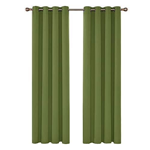 Deconovo Cortinas Dormitorio Moderno Blackout Curtain Suave para Ventanas de Habitación Juvenil 2 Paneles 140 x 245 cm Verde