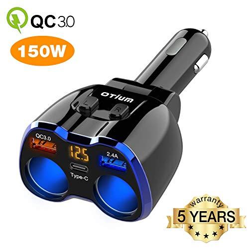 OTIUM Auto Ladegerät Zigarettenanzünder Verteiler Adapter Splitter USB C KFZ Ladegerät 2 Steckdose 12V/24V DC 80W mit LED Voltmeter Schalter Dual USB Port für Handy Tablet GPS Dash Kamera