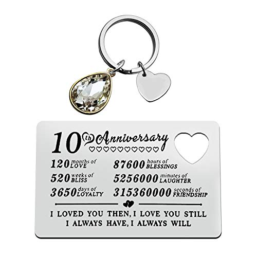 10th Anniversary Jewelry for Husband Wife Engraved Wallet Inserts Card Keychain Set Anniversary Card Gifts 10 Years Wedding Anniversary Jewelry Valentine's Day Jewelry Deployment Gifts