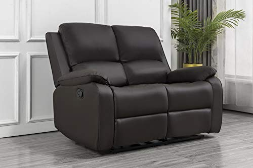 Furnituremaxi Luxury Lounge Couche Set 2 seater Recliner Leather Sofa Love Seats Armchair in Brown
