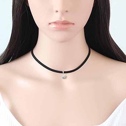SPS Material de Franela Moda para Mujer Collar de Cuerda Corta Colgante de Estrella Cadena de clavícula Accesorios de Salida de Verano Regalo de cumpleaños