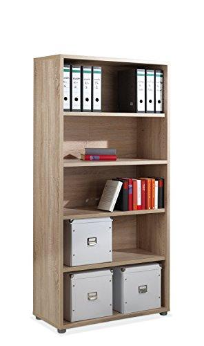 Regal Standregal Bücherregal | 5 Fächer | Braun | Eiche Struktur | BxHxT: 89x185x40 cm