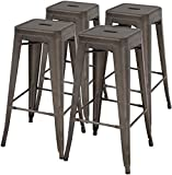 Counter Height Bar Stools Set of 4 Bar Stools 30 Inches Metal Stool Patio Stool Stackable Barstools Kitchen Counter Stool Indoor/Outdoor Stool Metal Bar Stools Moden Dining Chairs