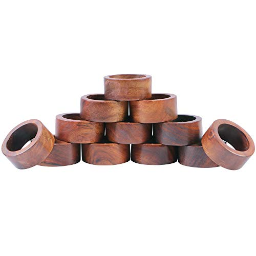 Shalinindia Artisan Crafted Dinner Table Decorations Wood Napkin Rings Set of 8 for Wedding Party